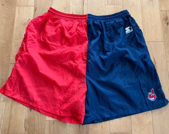 361cba38edeea Vintage Starter Cleveland Indians Swim Trunks Late 90s Embroidered Spell Out  100% Nylon XL Two Tone Colour Block Mesh Lined Swimming Shorts