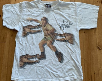e86a49085 Vintage The Crocodile Hunter Steve Irwin Tee 1999 Giant Merchandising 100%  Cotton T-shirt Small Australian 90s Zoo TV Show Promo Crocs