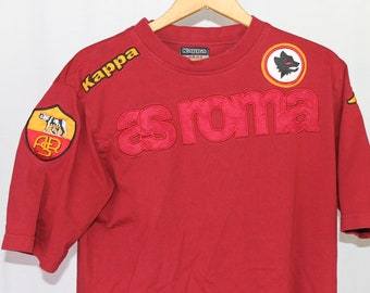 cb4a4a95a Vintage Large Kappa AS Roma Italy Soccer Spell Out T-Shirt Red Logo Tee  Hypebeast Streetwear