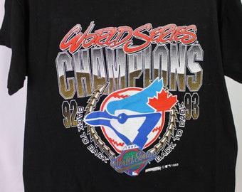 Rare Vintage Toronto Blue Jays T- Shirt 1993 World Series Champs Single  Stitch Trench MLB Retro Baseball Tee 1990 s Medium 4ff3a483a