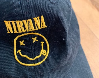 357e4894ee7 Early 2000 s Nirvana Embroidered Velcro Baseball Hat 100% Cotton Vintage  Grunge Band Kurt Cobain
