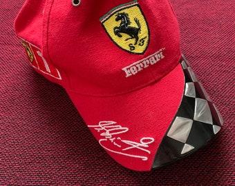 3c34ec0ec29 1990s Ferrari Hat Rare Michael Schumacher Vintage Formula One F1 100%  Cotton Checkerboard Bill Embroidered 3M Nascar Shell Racing Reflective