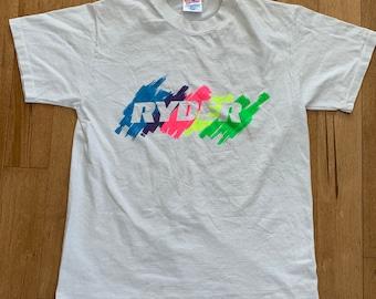 10985a0e Vintage 1990s Ryder Tennis Trucking T-shirt Neon Highlighter Logo Graphic  Tee White Hanes Heavyweight Cotton Made USA Medium Single Stitch