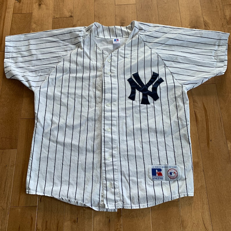 finest selection 0b935 934fe Vintage New York Yankees Pinstripe Jersey Russelll Athletics Pro Made In  The USA Medium MLB Baseball Striped Embroidered