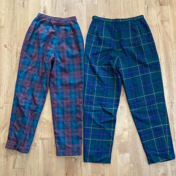 Vintage 1980s 1990s Mixed Plaid Pants Lot Reselle… - image 3