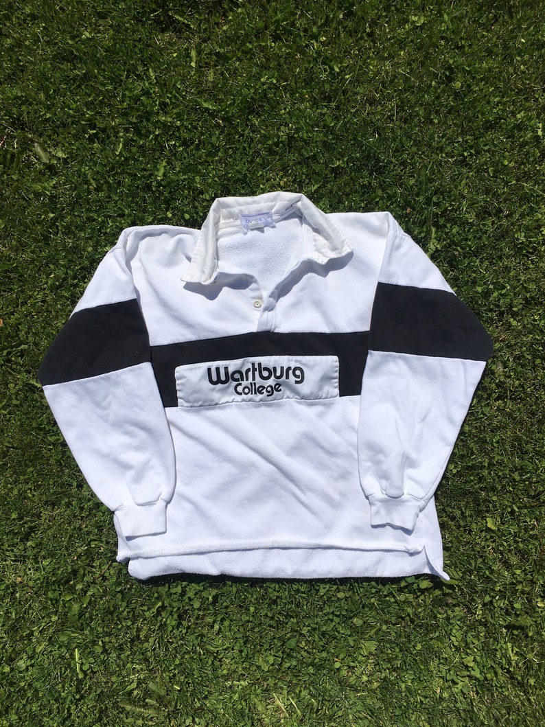 Vintage Wartburg College Rugby Shirt Black and White Long Sleeve Colour Block 90s Made in USA Waverly Iowa Large Collared Striped Sportswear