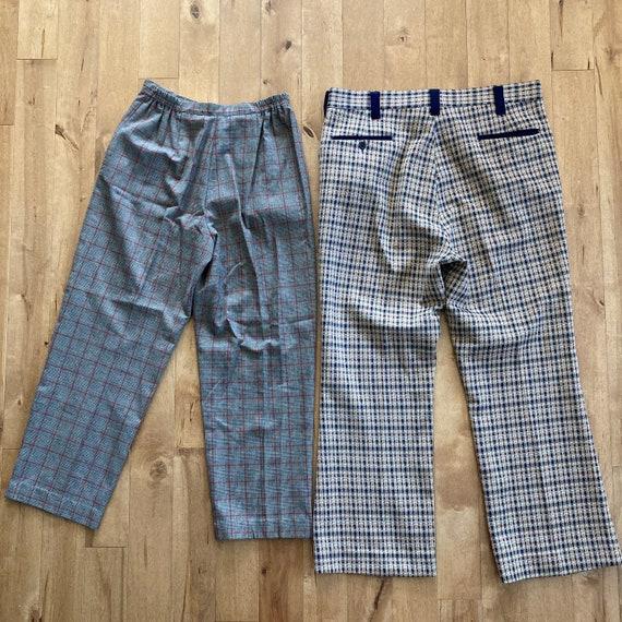 Vintage 1980s 1990s Mixed Plaid Pants Lot Reselle… - image 7