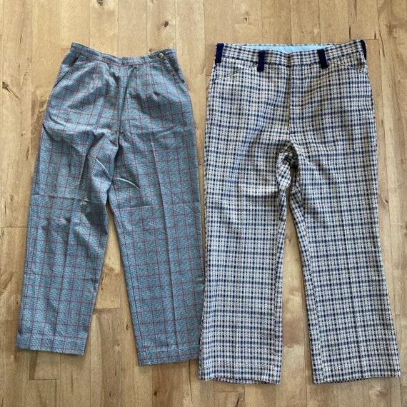 Vintage 1980s 1990s Mixed Plaid Pants Lot Reselle… - image 6