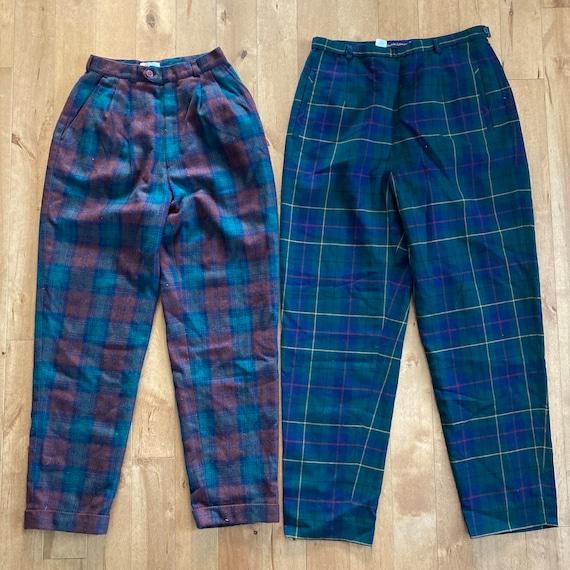 Vintage 1980s 1990s Mixed Plaid Pants Lot Reselle… - image 2
