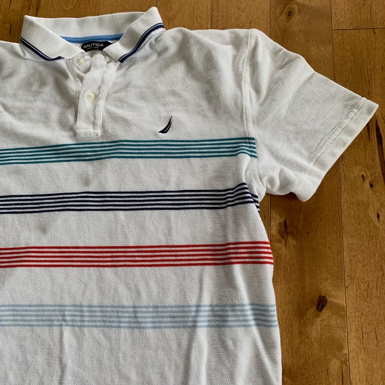 6f811d6c Nautica Striped Short Sleeve Polo Shirt XL Embroidered Nautical Sailing  Sportswear White Blue Red Patterned Streetwear Logo American Branded
