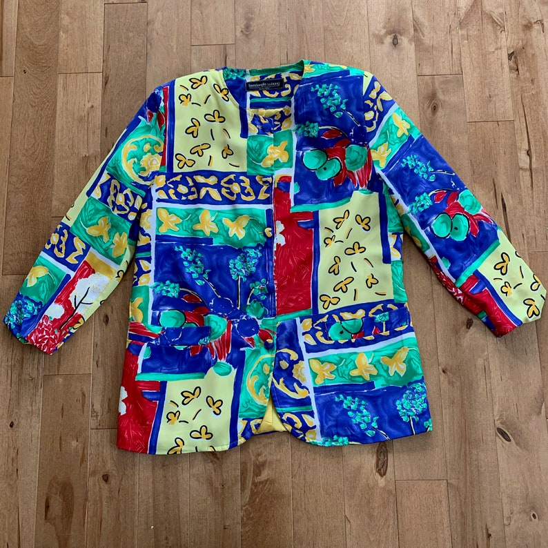 Vintage Bendangla Subong Toronto Ladies Jacket Made in Canada 80s All Over  Print Painterly Floral Pattern Shoulder Pads Women's Large Retro