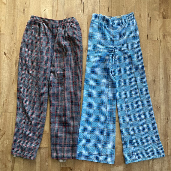 Vintage 1980s 1990s Mixed Plaid Pants Lot Reselle… - image 4