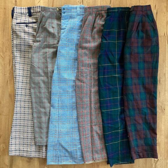 Vintage 1980s 1990s Mixed Plaid Pants Lot Reselle… - image 1