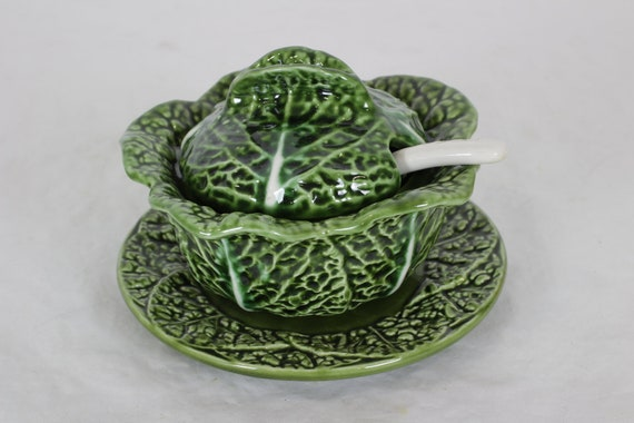 Small Cabbage Soup Bowl With Spoon Majolica Soup Tureen Etsy