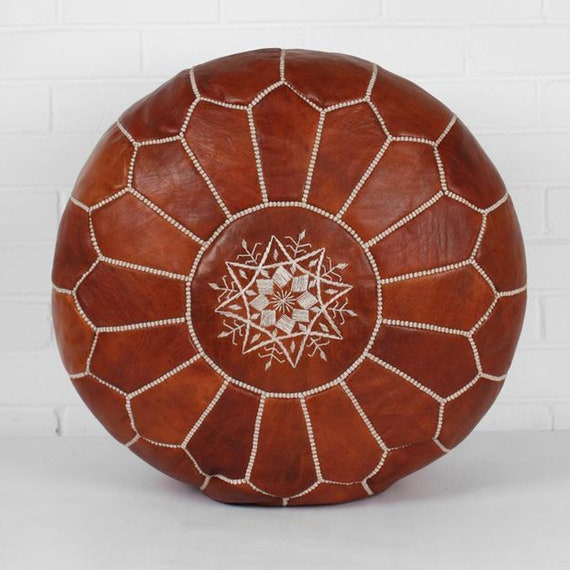 Surprising Brown Moroccan Poufs Leather Luxury Ottomans Footstools Gold Unstuffed Theyellowbook Wood Chair Design Ideas Theyellowbookinfo