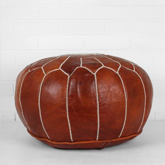 Awesome Brown Moroccan Poufs Leather Luxury Ottomans Footstools Gold Unstuffed Theyellowbook Wood Chair Design Ideas Theyellowbookinfo