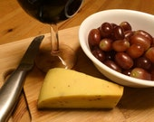 Red wine, gouda cheese and organic grapes on cutting board. Digital Photograph, Digital Download. Custom stock photos available, contact me!