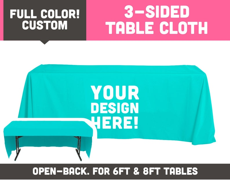 Fully Printed 3 Sided Table Cloth  Available for 6ft & 8ft image 0