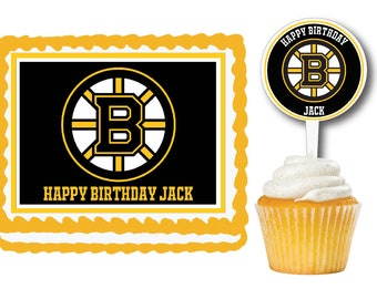 Boston Bruins Edible Cake Cookie Toppers Or RARE Plastic Cupcake Picks For Birthday Parties