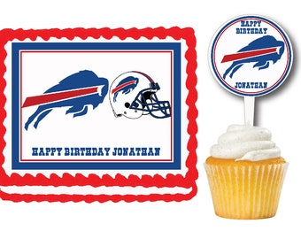 Buffalo Bills Edible Cake Cookie Toppers Or RARE Plastic Cupcake Picks For  Birthday Parties b05c954b5a62
