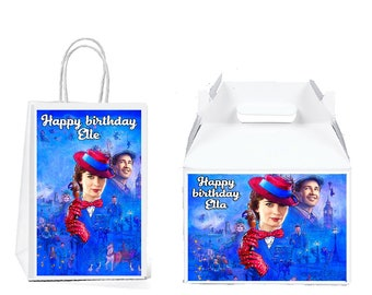 Mary Poppins Returns Gift Bag Or Gable Box Labels Stickers For Birthday Parties