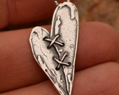 Mended Heart, Sterling Silver Stitched Heart Charm, CH-831, (ONE) photo