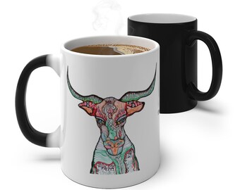 Long Horn Bull Color Changing Mug