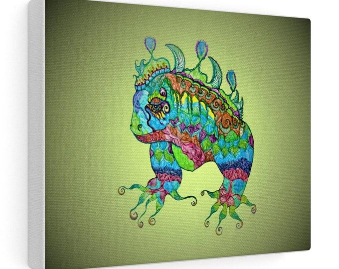 Green Iguana Canvas Gallery Wraps