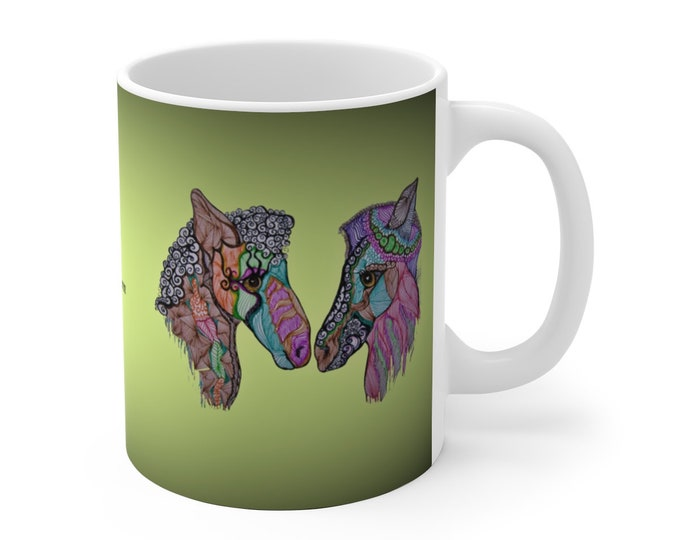 Donkey Love Green Ceramic Mug