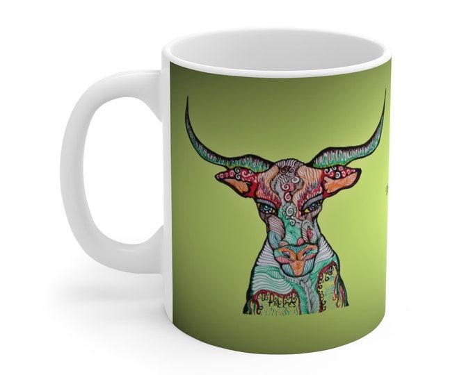Longhorn Bull Green Ceramic Mug