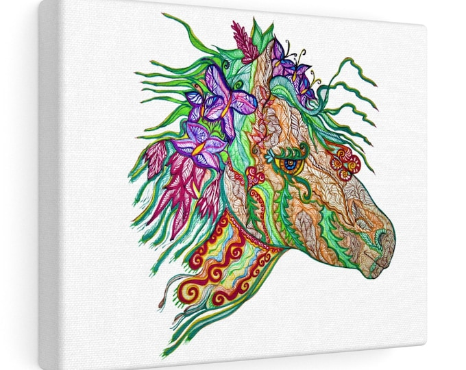 Earthbound Horse White Canvas