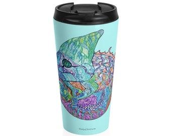 Blue Chameleon Stainless Steel Travel Mug