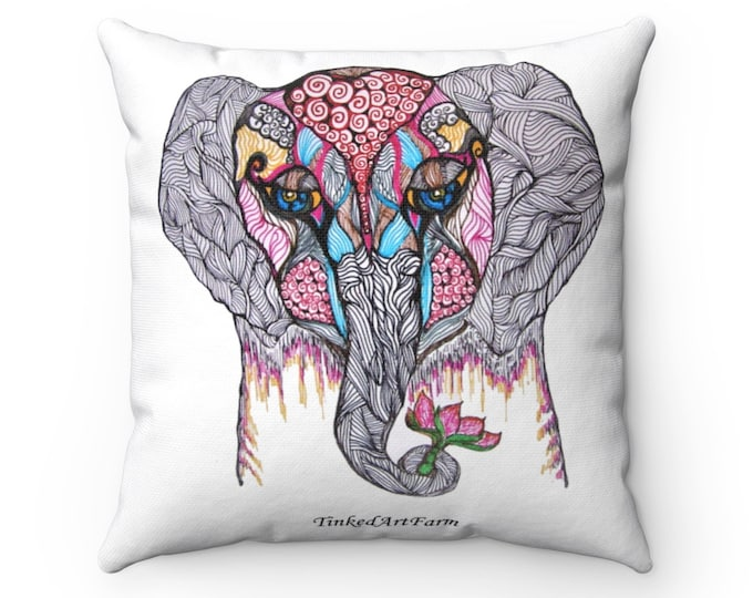 Elephant Polyester Square Pillow