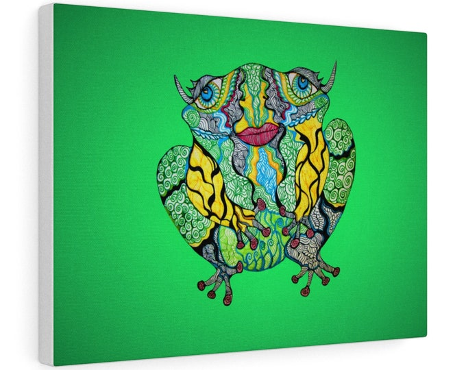 Green Frog Canvas Gallery Wraps