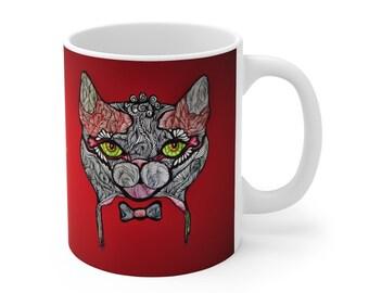 Red Tuxedo Cat Ceramic Mug