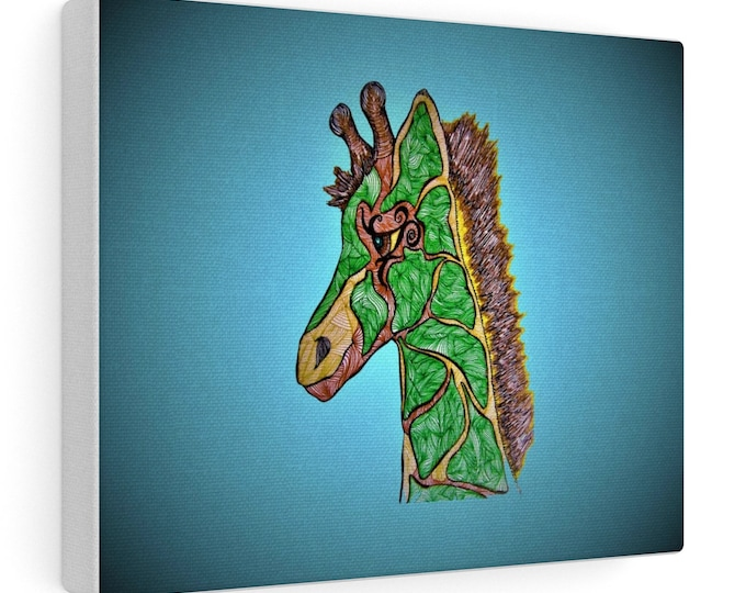 Green Giraffe Canvas Gallery Wraps