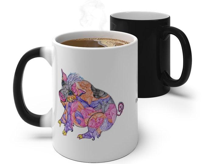 Whimsical Pig Color Changing Mug