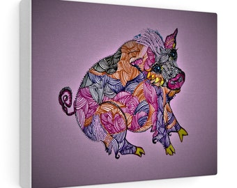 Whimsical Pig Canvas Gallery Wraps