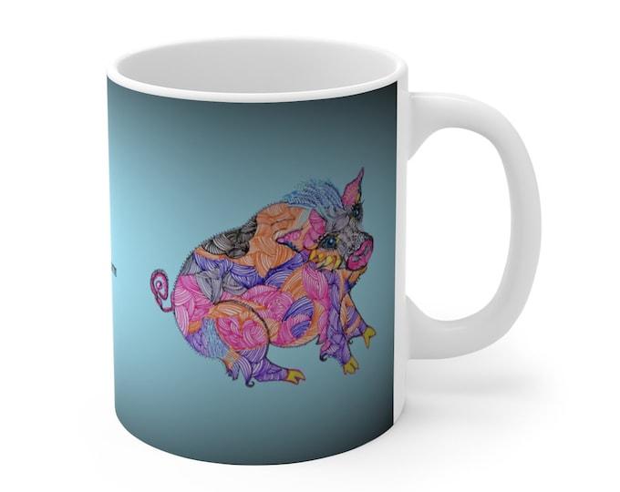Smiley Pig Blue Ceramic Mug