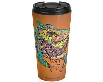 Bearded Dragon Iguana Stainless Steel Travel Mug