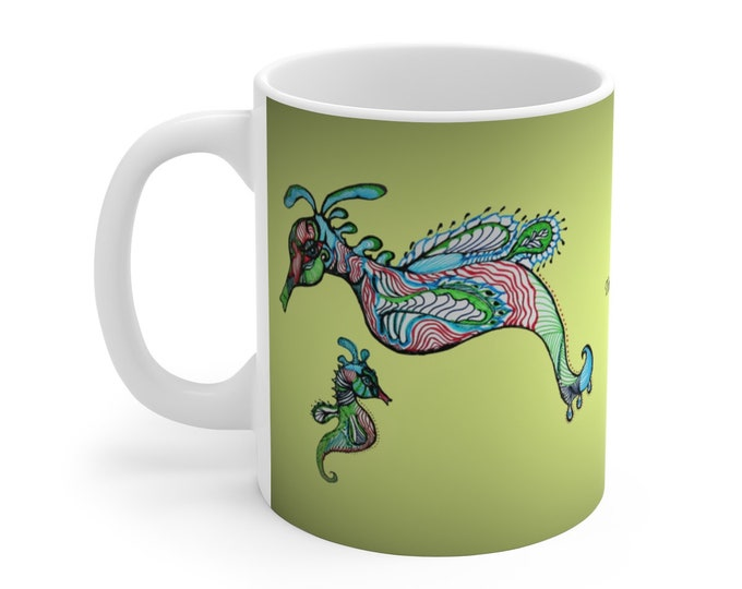 Seahorses Green Ceramic Mug