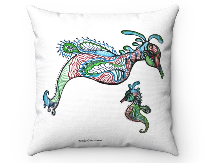 Seahorses Polyester Square Pillow