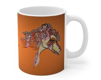 Fire Horse Orange Ceramic Mug