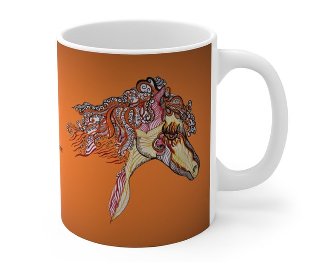 Fire Horse Orange Ceramic Mug