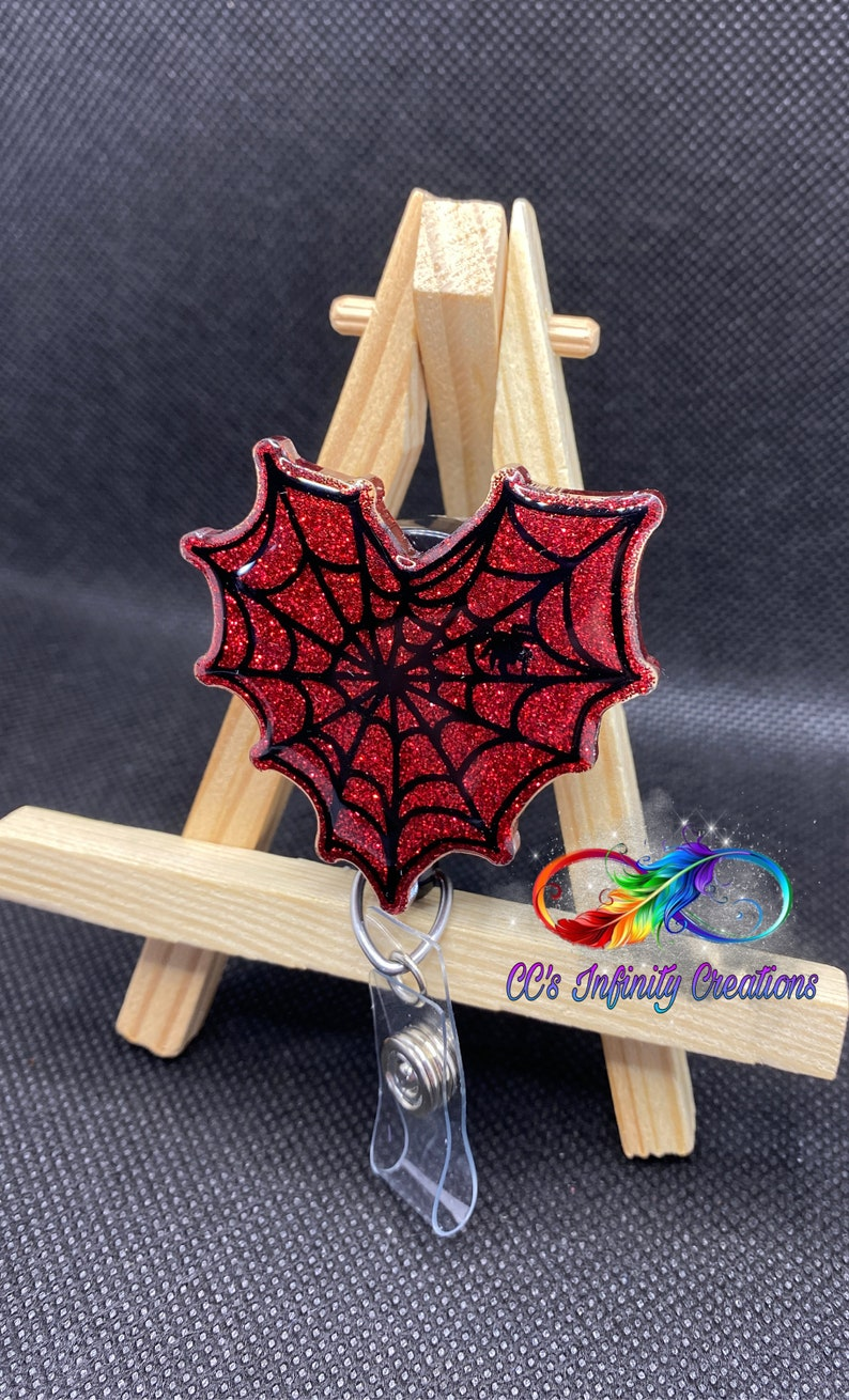 Halloween Badge Reel ~ Interchangeable ~ Nurse ~ Spider Web Heart ~ Spooky ~ Cardiology ~ Cardiac