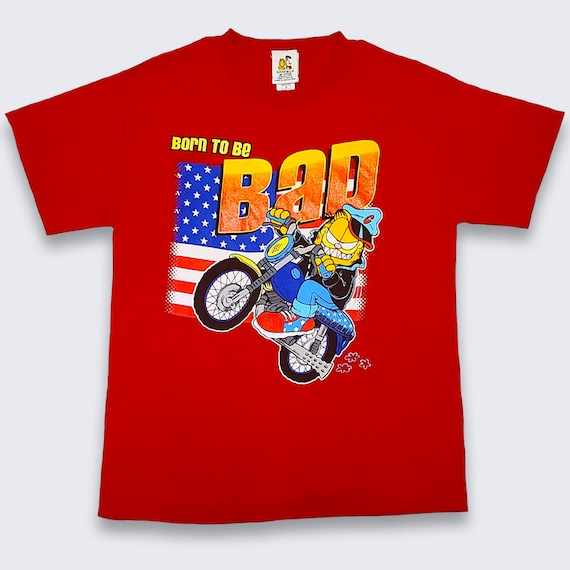 Garfield Vintage Cartoon Bad to the Bone Motorcycl
