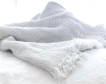 Thick Waffle Linen Throw Blanket - Made in USA