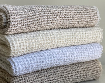 Linen Bath Sheets - Waffle Linen Towels - Made in USA