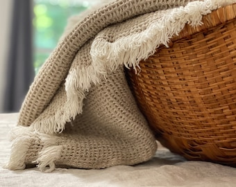Linen Waffle Woven Throw Blanket - Made in USA