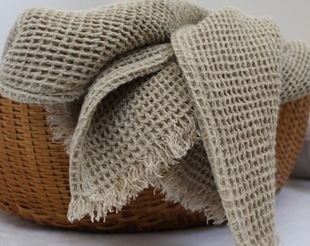 Waffle Linen Throw Blanket -Made in USA